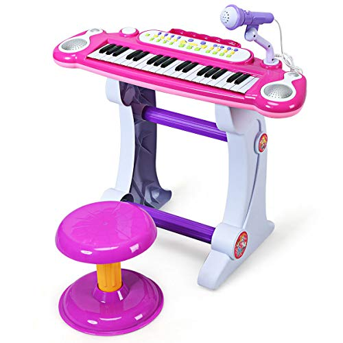 (Costzon Electronic Keyboard 37-Key Piano, Musical Piano w/Record and Playback for Kids, Working Microphone & Stool, Pink)