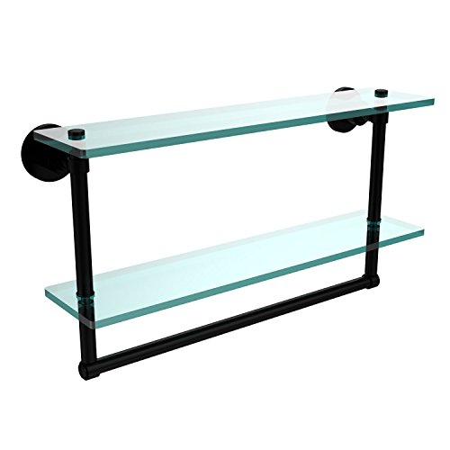 Allied Brass WS-2TB/22-BKM Washington Square Collection 22 Inch Two Tiered Glass Shelf with Integrated Towel Bar, Matte Black ()