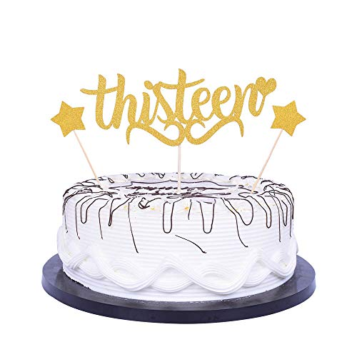 YUINYO Happy 13th Birthday Cake Topper Gold Party Decoration Supplies Birthday 13th Anniversary happy birthday Decorations Ideas Party Banner -