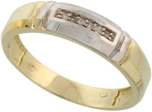 10k Yellow Gold Mens Diamond Wedding Band Ring 0.03 cttw Brilliant Cut 7//32 inch 5.5mm wide
