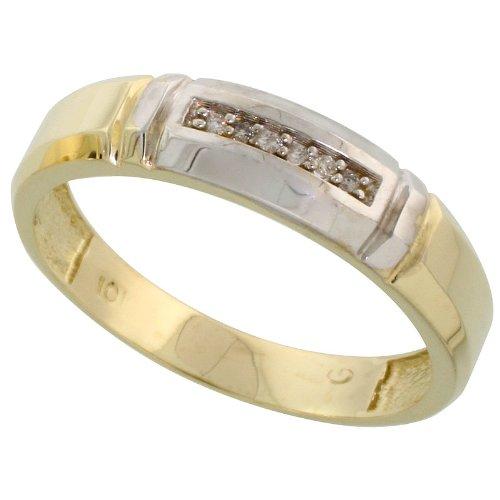 Size 12.5 5.5mm w// 0.03 Carat Brilliant Cut Diamonds 7//32 in. wide 14k Gold Mens Diamond Band