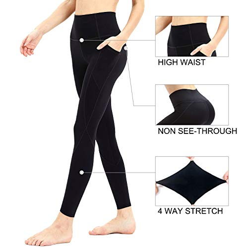 Persit Workout Leggings for Women with Pockets, Yoga Pants for Women High Waisted Athletic Gym Sport Yoga Leggings - Black - L