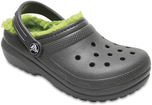 Crocs Classic Lined Clog K Zoccoli Unisex-Bambini Slate Grey//Volt Green Grigio 29//30 EU