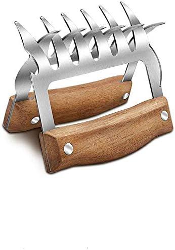 XINKANG Barbecue Tenedor 2 Unids/Lote Carne Garras Trituradora Barbacoa Barras De Oso Conjunto De Acero Inoxidable Cerdo Pulido De Metal Pollo Barbacoa Cocina Garras con Mango De Madera