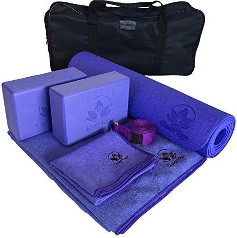 Clever Yoga Set Kit 7-Piece 1 Yoga Mat, Yoga Mat Towel, 2 Yoga Blocks, Yoga Strap, Yoga Hand Towel, Free Carry Case for Exercises Yogis and Mom