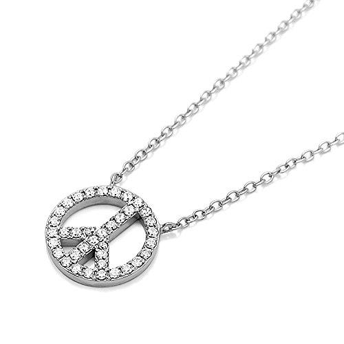 (DIAMONI Sterling Silver Rhodium Plated, CZ Stone Pave Set Peace Sign Pendant Necklace, Chain 16~18