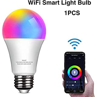 Smart LED Light Bulb Work with Alexa and Google Home A19 E26 9W 806lm Multicolor 2.4 GHz WiFi Dimmable Lights Bulbs Equivalent RGB Color Changing Bulb (1 Pack)
