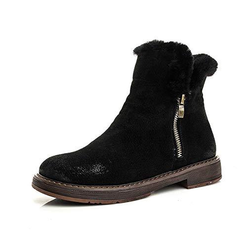 De El Mujer Pingxiannv Nieve Invierno Pisos Zapatos Tobillo Botas Para Casuales Cálidas Cuero IFw5F
