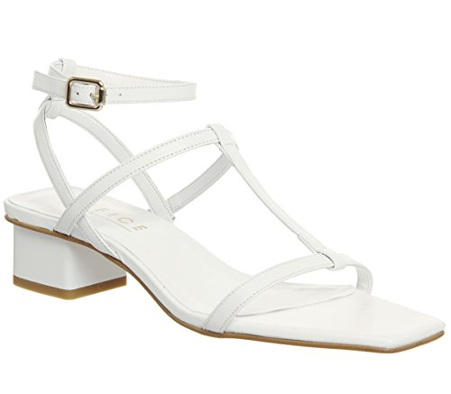 Miley Toe Sandals Square Office Strappy White Leather dvqfwwE