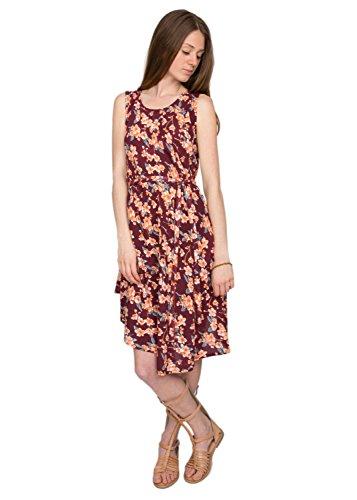 Vestido estampado floral con vuelo y efecto teñido anudado