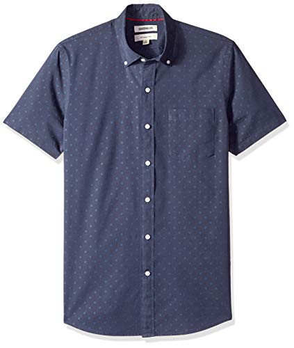 (Goodthreads Men's Slim-Fit Short-Sleeve Dobby Shirt, -navy dot, Large)