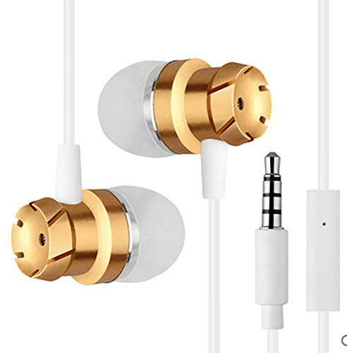 in-Ear Earphones, Licoers Universal 3.5mm Wired Metal Earbuds Nylon Wire in Ear Headphones with Mic and Case Bass Stereo Noise Isolating Ear Buds Inear Earphones (Gold)