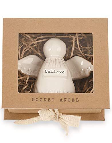 Mud Pie Believe Pocket Angel Milk Glazed Terra-Cotta with Metal Halo 3.5 Inches