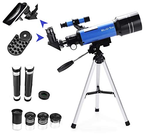 MaxUSee 70mm Refractor Telescope with Tripod & Finder Scope, Portable Telescope for Kids & Astronomy Beginners, Travel Scope with 4 Magnification eyepieces & Phone Adapter