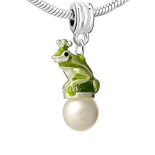 Frog Bead Dangle - SEXY SPARKLES Green Frog Sitting on Imitation Pearl Dangle Charm Pendant for European Snake Chain Bracelets