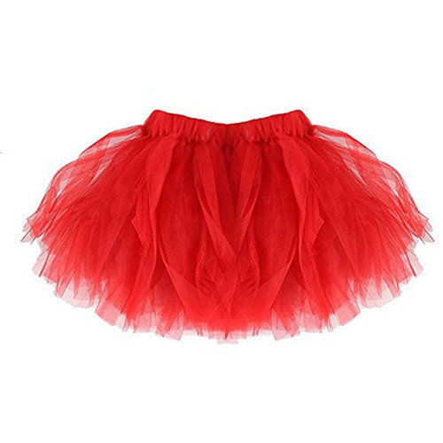 - Cute Baby Girls Pleated Tutu Ballet Mesh Party Skirt (Red)
