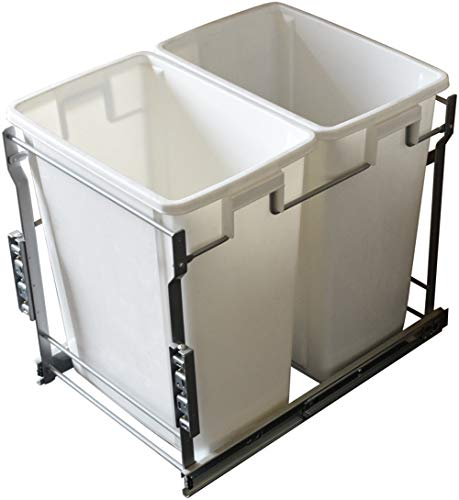 Silverline Double 35 Qt. Kitchen Cabinet Pull-Out White Waste Container Under-Counter Trash Can