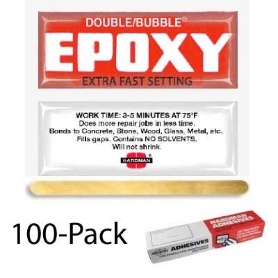 Hardman Double Bubble Red #04001 Extra Fast Setting Epoxy (3-5 Minute) - 100-Pack - Epoxy Packet