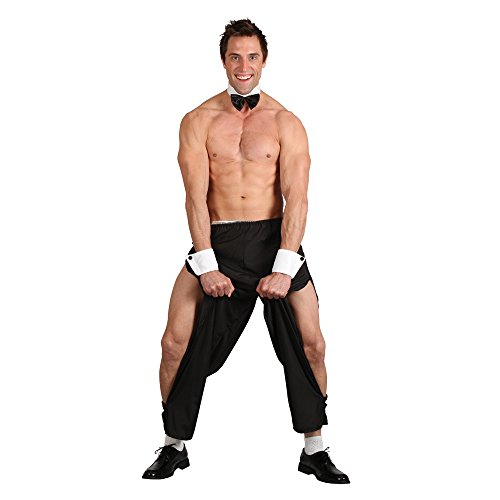 Party Boy Stripper Mens Stag Night Outfit Topless Butler Costume & Thong 4 -