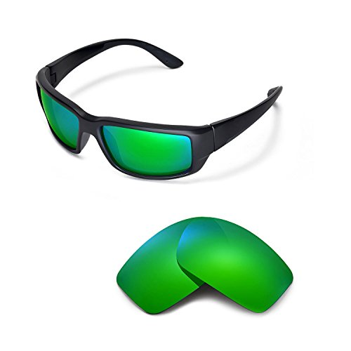 Walleva Replacement Lenses for Costa Del Mar Fantail Sunglasses - Multiple Options Available (Emerald Mirror Coated - - Polarized Test Lens