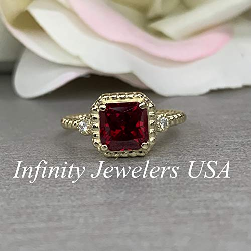 - Radiant Cut Engagement Ring/Red Ruby and Diamond Sides Ring / 14k Yellow Gold / #6241