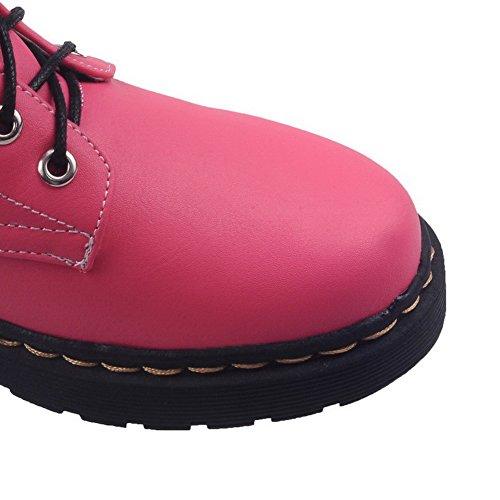 AllhqFashion Mujeres Material Suave Cordones Puntera Redonda Mini Tacón Caña Baja Botas Rosa