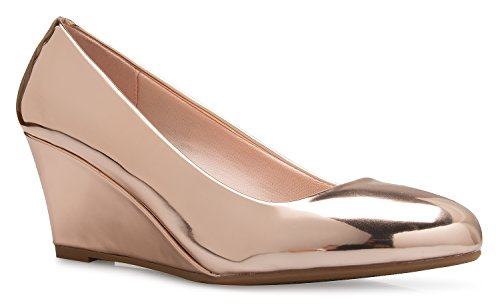 (OLIVIA K Women's Adorable Low Wedge Heel Shoe - Easy Low Pumps - Basic Slip On,)