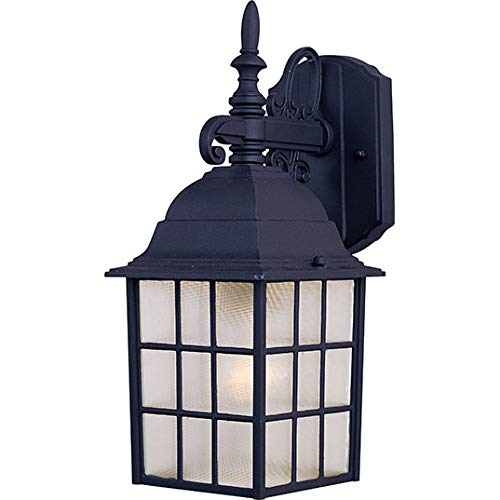 - Maxim 1051BK North Church 1-Light Outdoor Wall Lantern, Black Finish, Clear Glass, MB Incandescent Incandescent Bulb , 100W Max., Dry Safety Rating, Standard Dimmable, Glass Shade Material, 5750 Rated Lumens