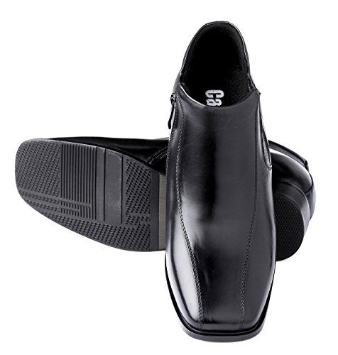 Calden - K99805 - Botas Altas Taller De 3.2 Pulgadas - Zapatos Elevadores De Altura Creciente (botas De Vestir Negras)