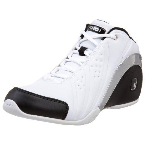 AND 1 Men's Rocket Mid Basketball Shoe,White/Black/Silver,9.5 M