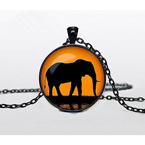 象象象のジュエリージュエリーネックレス黒とオレンジ色の宝石の