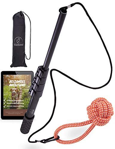 Tierhood ® Reizangel für große & kleine Hunde [stufenlos verstellbar] inkl. Trainingsanleitung – Spielangel Hunde…