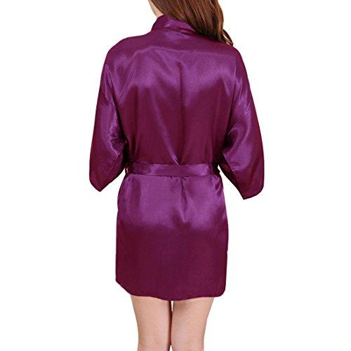 Kimono Indumenti viola Camicie Donna da da Notte Notte per Vestaglia 2 da Stile Sidiou Abito Corta Donna Notte da Pigiama Group Biancheria Raso Notte Accappatoio Elegante Vestaglia FqEA1z