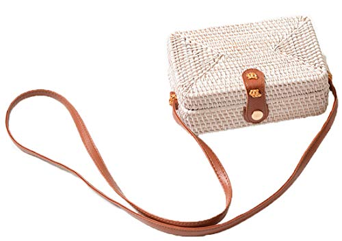 Handwoven Round Rattan Bag Shoulder Leather Straps Natural Chic Hand Gyryp (Leather buttons(small quadrilateral white brown))