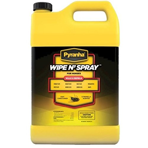 (Pyranha 1 Gallon Wipe N Spray for Horses Kills and Repels Contains Lanolin Citronella Scented. Fly Spray)