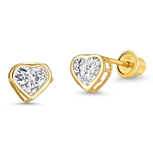 14k Yellow Gold White April Heart Bezel Cubic Zirconia Children Screwback Baby Girls Stud Earrings ()