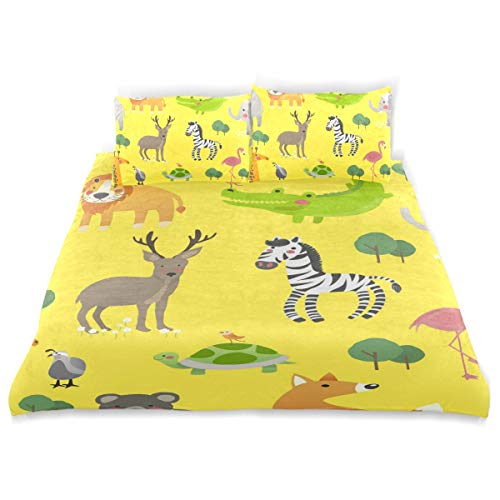 SHANGLONG 3 Piece Duvet Covers Cute Wildlife Animals Bedding Sets Soft Bedclothes Bedspreads Comforter Sheet Sets for Kids (Twin)