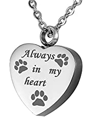 HOUSWEETY Stainless Steel Always in My Heart and Pet Paws Cremation Urn Necklace Ash Keepsake Memorial Jewelry