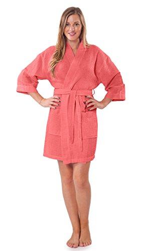 Turquaz Linen Lightweight Knee Length Waffle Kimono Bridesmaids Spa Robe (Small/Medium, Coral)