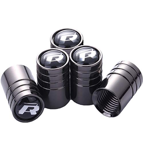 TK-KLZ 5Pcs Chrome for VW R Line Sport Logo Car Tires Valve Stem Caps for All Model Volkswagen VW CC Tiguan Jetta Golf MAGOTAN Polo Santana Beetle Phaeton Decorative Accessory (Best Tires For Vw Beetle)