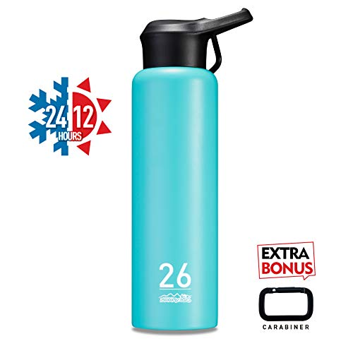(ZOOOBELIVES Metal Sports Water Bottle 26oz, Double Walled 18/8 Stainless Steel, Vacuum Insulated, Wide Mouth, Powder Coated - Designed for Cycling/Hiking/Camping/Traveling/Gym/Yoga (Fantasy Blue))