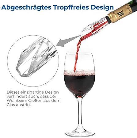 ecooe Decantadores Vino Aireador de Vino Sin Goteo Vino Vertedor de Forma de diamante única, Sin BPA, Negro