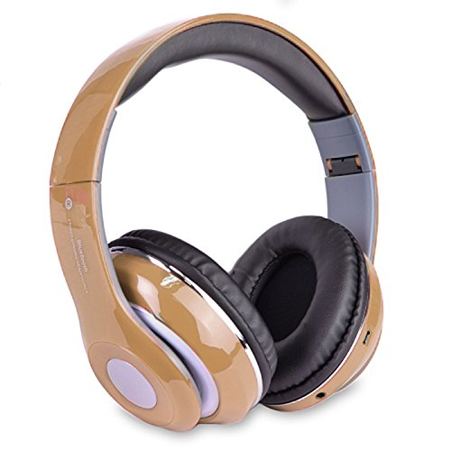 Altatac Bluetooth Rechargeable Over Ear Headset Foldable Wireless Wired Headphones with Memory Card Slot Built-in FM Tuner Microphone Audio Cable for Phone TV Computer MP3 Player - Gold