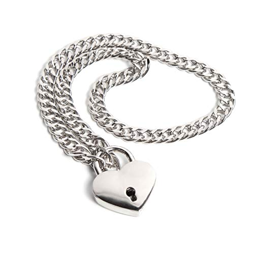 Chain Necklace and Heart Padlock Day Collar I (Large, Silver Chalice)