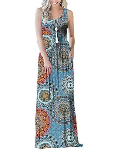 SWQZVT Women's Summer Bohemian Floral Dresses Sleeveless Pockets Racerback Scoop Neck Casual Long Maxi Tank Dress Light Blue M