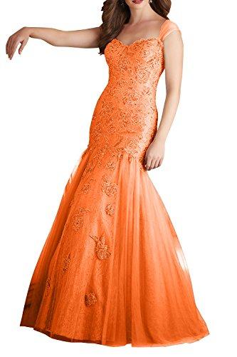 Charmant Damen Lang Abiballkleider Langes Neu Ballkleider Grau Abendkleider Orange Meerjungfrau Spitze 2018 rr1qFwp