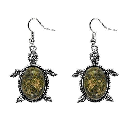 (Lova Jewelry Silver-tone Turtle Earrings (Unakite))