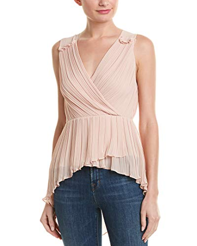 (BCBGMAXAZRIA Women's Asymmetrical Pleated Faux Wrap Top, Bare Pink, S)