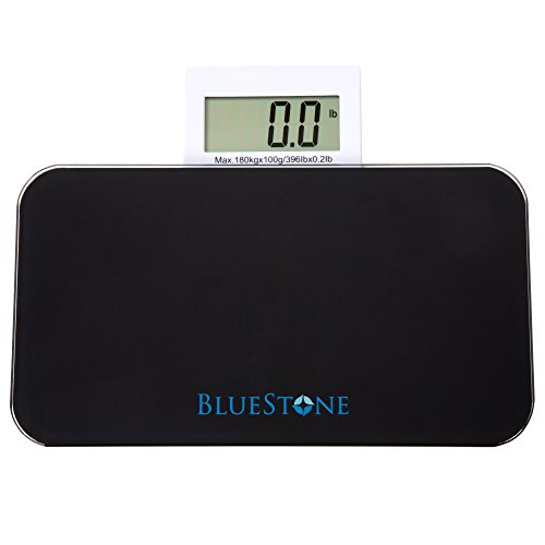 Bluestone Glass Digital Body Scale with Expandable Readout, (Glass Lithium Digital Scale)