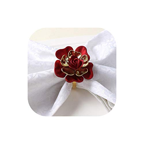 12/Pcs Exquisite Electroplating Uv Rose Napkin Clasp Wedding Napkin Ring Hotel Model Room Home Napkin Ring,Claret